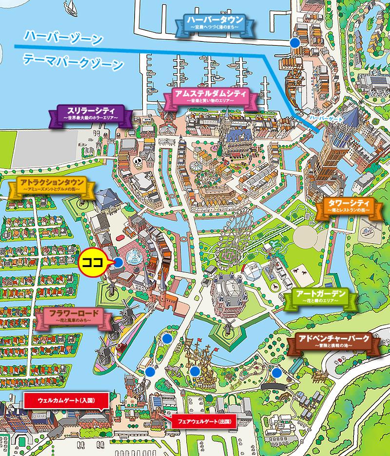 ハウステンボス場内マップこちらのURLからコピーしました。ハウステンボスのホームページよりhttp://www.huistenbosch.co.jp/event/7attraction/images/index/bahamut-disco/map.jpg